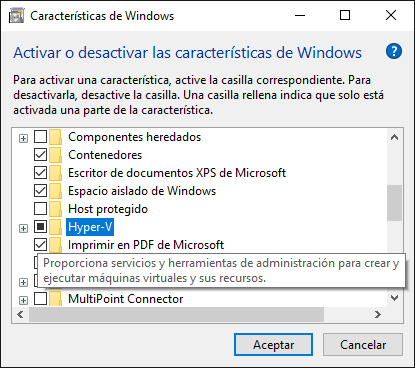 Hyper-V  / Windows - Características de Windows