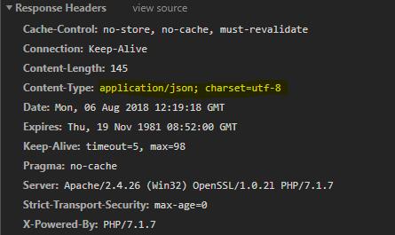 PHP Content-Type apllication/Json