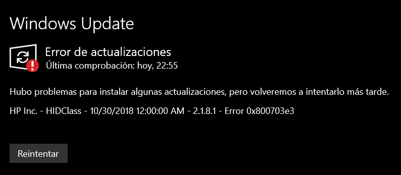 HP Inc. - HIDClass - 10/30/2018 12:00:00 AM - 2.1.8.1 - Error 0x800703e3