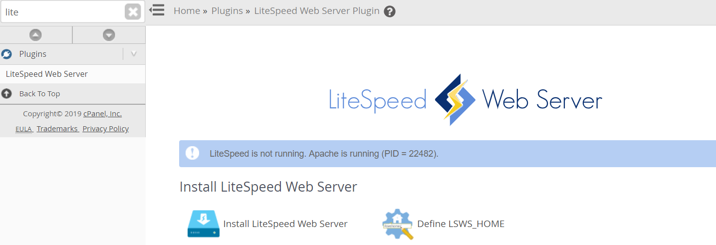 Instalar LiteSpeed Cpanel WHM